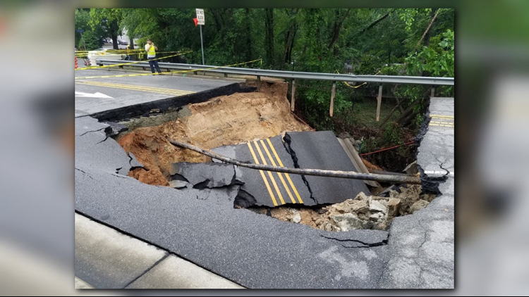 A hole to 20 to 25 feet deep has closed a Raleigh road.