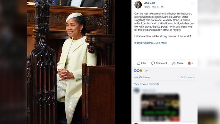 A Midlands mother shares a post about Meghan Markle's mother at the royal wedding that goes viral.