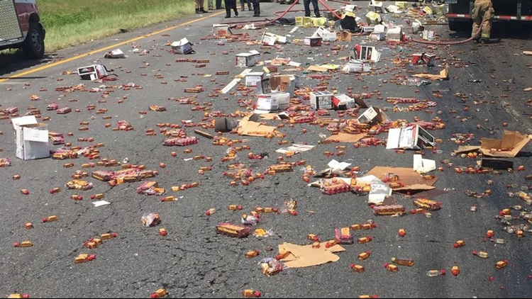 The Arkansas Department of Transportation is working to clean up a shipment of Fireball whisky after two 18-wheelers were involved in a crash on Interstate 40.