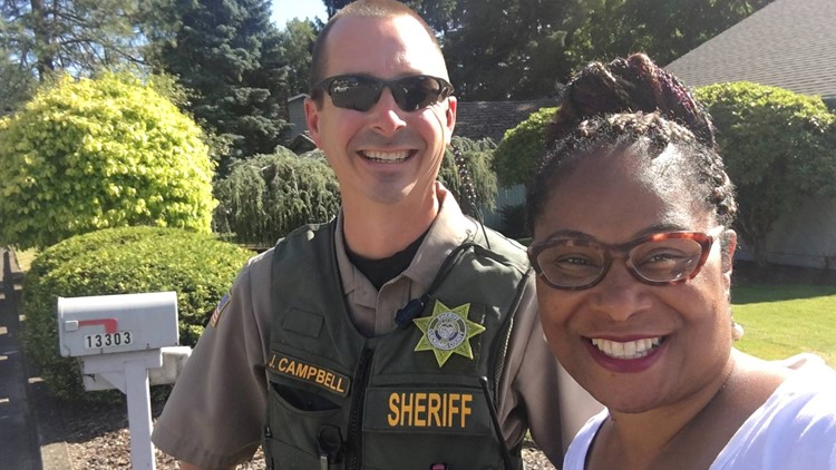 Janelle Bynum, a state representative running for reelection in November, said she was going door to door in Clackamas on Tuesday when an officer from the Clackamas County Sheriff's Office showed up.