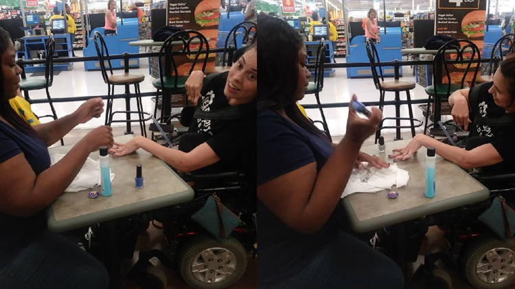 Walmart cashier steps in when nail salon refuses wheelchair-bound woman