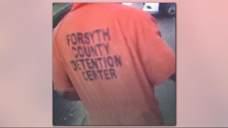 Man wearing Forsyth Co  Detention Center jumpsuit seen near Hanes