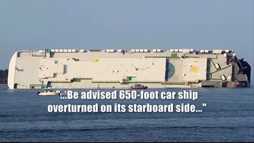Cargo Ship Flips, Catches Fire in St  Simons Sound in