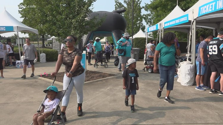 The Carolina Panthers celebrate their fans on 'Back Together Saturday'