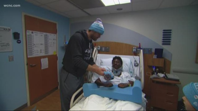 Panthers' Tight End Greg Olsen Visits Injured High School Football Player