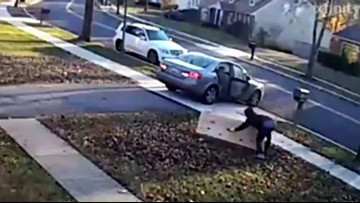 VIDEO: Clumsy Porch Pirate Trips Over Big-Screen TV, Can't Get It Into Car