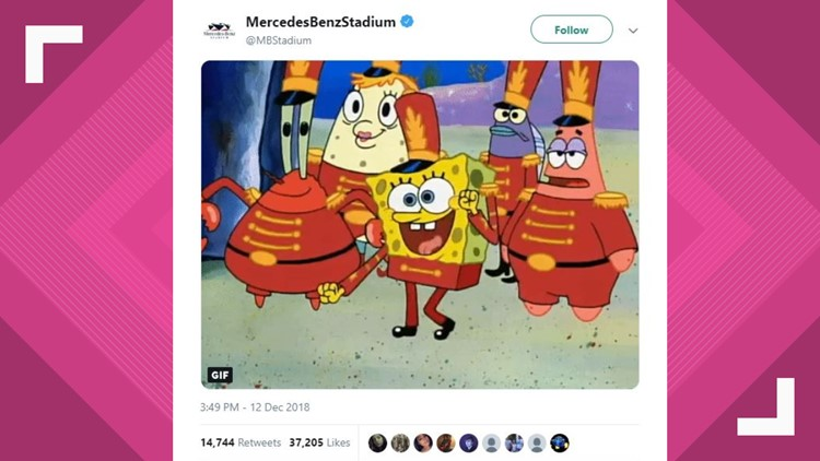 Sweet Victory? Mercedes Benz Stadium Chimes In On SpongeBob Super Bowl Halftime Show