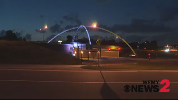 Twin Arches Light up Red, White, and Gold to Honor Carolina Thunderbirds