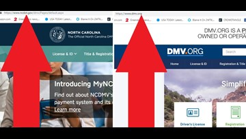 The NC DMV is charging an extra fee? Nope, you're on the wrong website!