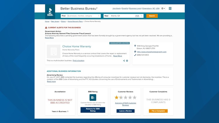 Choice Home Warranty BBB review