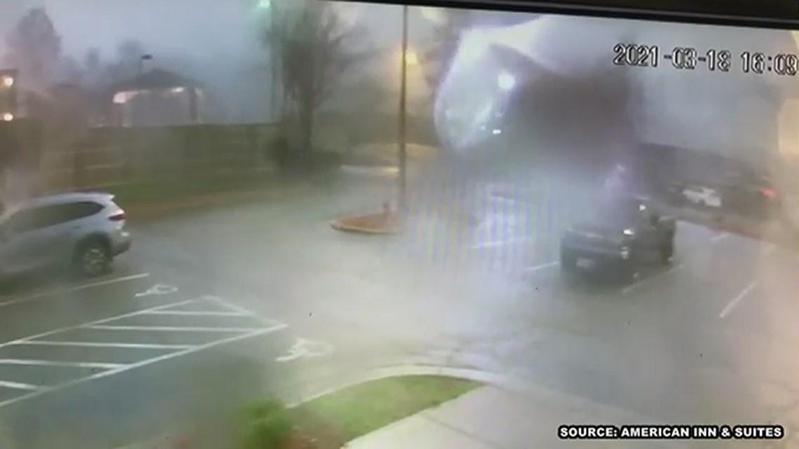 RAW: Security video captures High Point tornado debris at American Inn & Suites