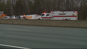 Tractor-trailer crashes into tree off I-40/85 in Guilford County