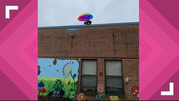 Elkin Elementary Principal Scales Roof to Raise $7K for Tray Recycling Machine