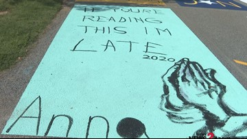 'If You're Reading This I'm Late!' Northern Guilford Students Paint School Parking Spaces To Help Teachers!