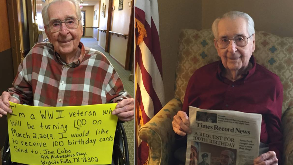 WWII Veteran Wants 100 Birthday Cards For His 100th Birthday On