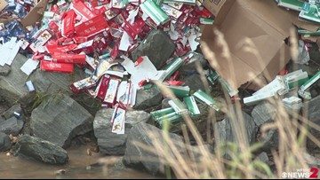 Cleanup Continues on Highway 52 in Surry County After Tractor-Trailer Spills Cigarettes Along Creek