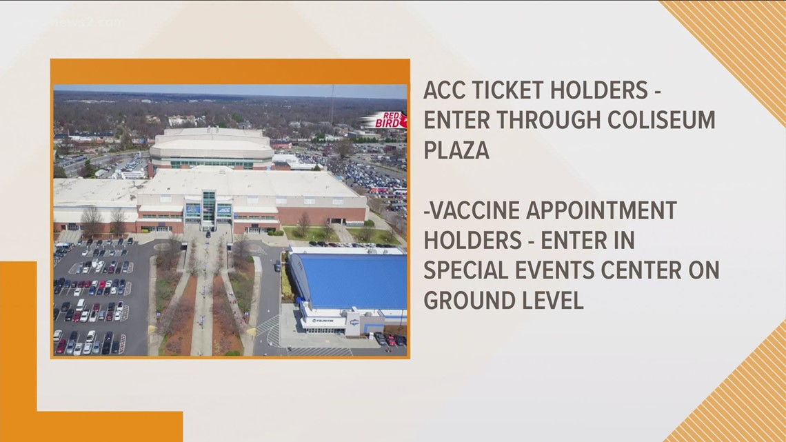 Where to park at the Coliseum for vaccines, ACC tourney