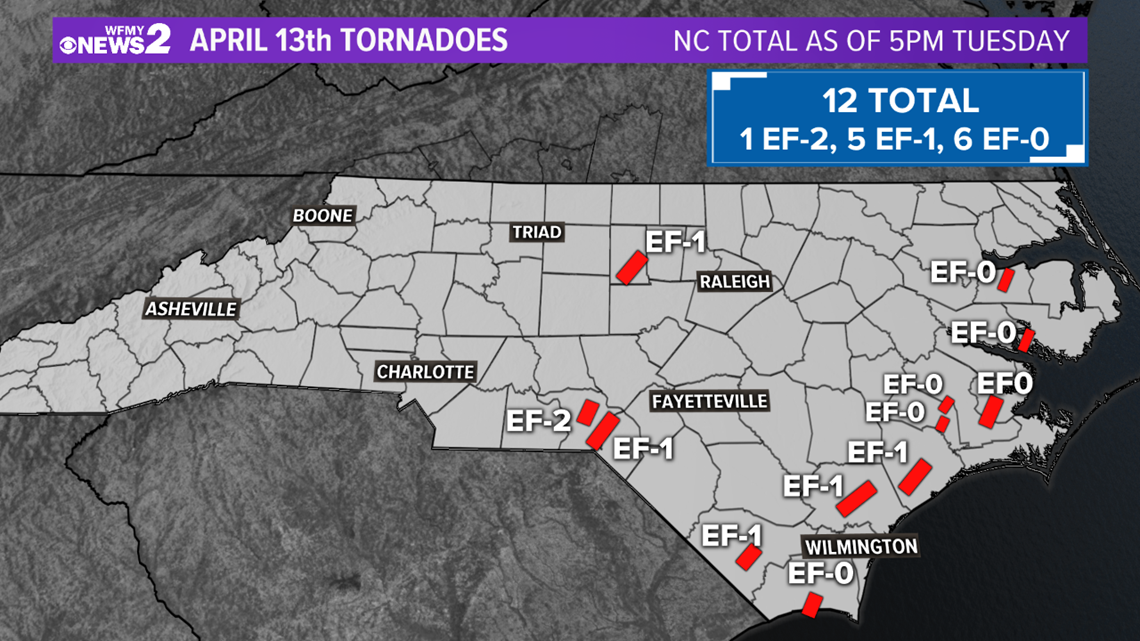12 tornadoes touched down in North Carolina Monday | wfmynews2.com
