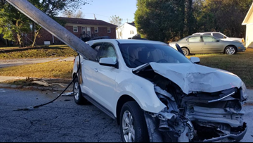 Pole Impales Car After Mom Drops Child off at School in Thomasville