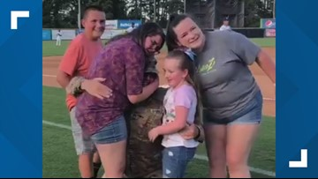 Soldier's Homecoming At Burlington Royals Game Is A Home Run With Grandkids
