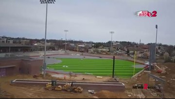 Drone View: Turf Installed At BB&T Point Baseball Field In High Point