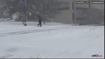 Man Goes Skiing In Downtown Greensboro