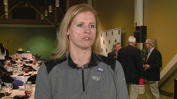 Talking hoops with Wake Forest Women's Head Coach Jen Hoover at Greensboro Sports Council Luncheon