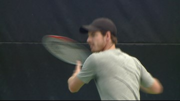 Andy Murray On The Practice Court At The Winston-Salem Open