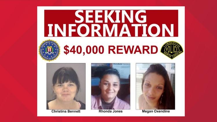FBI offering $40,000 reward for information after three women found dead in Lumberton