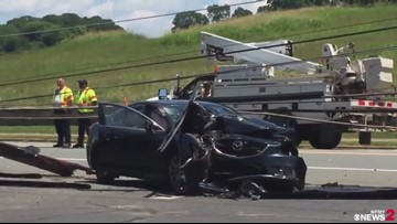 Car Seen Mangled in Power Lines After Hitting Utility Pole in Winston-Salem