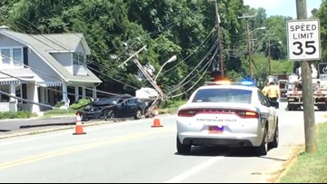 'I Heard a Snap' | Road Closed After Car Hits Utility Pole, Brings Down Power Lines in Winston-Salem