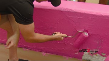 Jimmie Johnson, NASCAR Drivers Team with Breast Cancer Survivors to Paint Pit Wall Pink