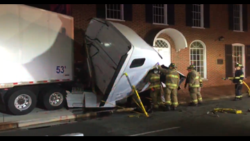 Tractor-Trailer Driver Crashes Into Funeral Home in Downtown Winston-Salem