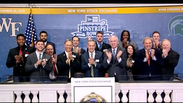 Wake Forest Football players ring New York Stock Exchange bell
