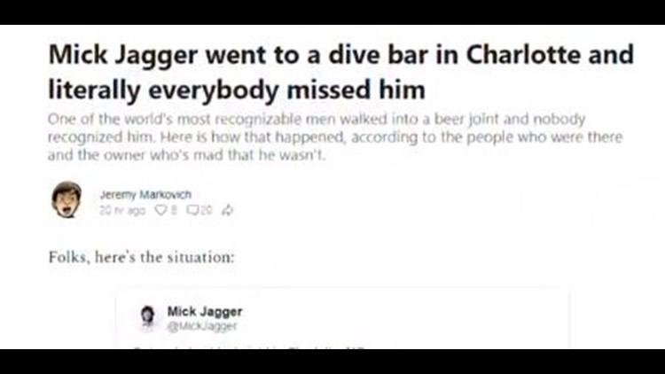 Mick Jagger goes unnoticed at Charlotte Bar