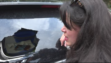 Woman Loses Part Of A Car Window During The Stormy Week