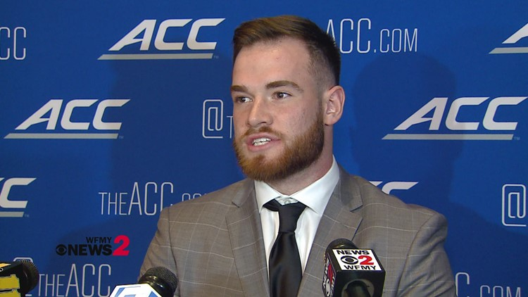 Talking football with NC State Quarterback Devin Leary at ACC Kickoff