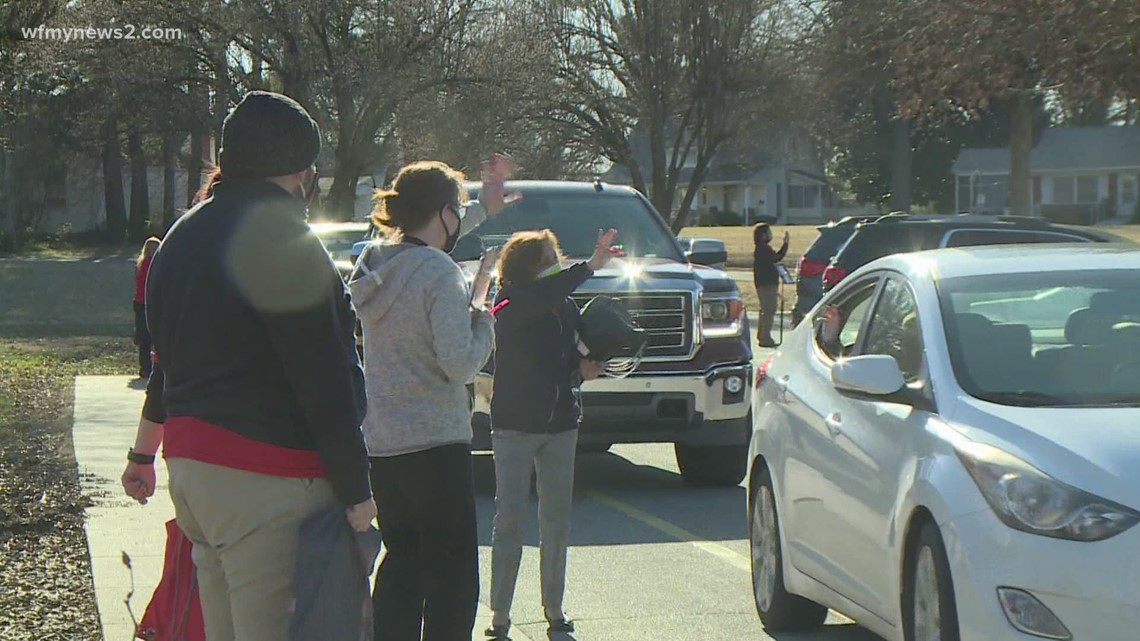 Graham Middle School prepares for students to come back to the classroom with drive-thru giveaway