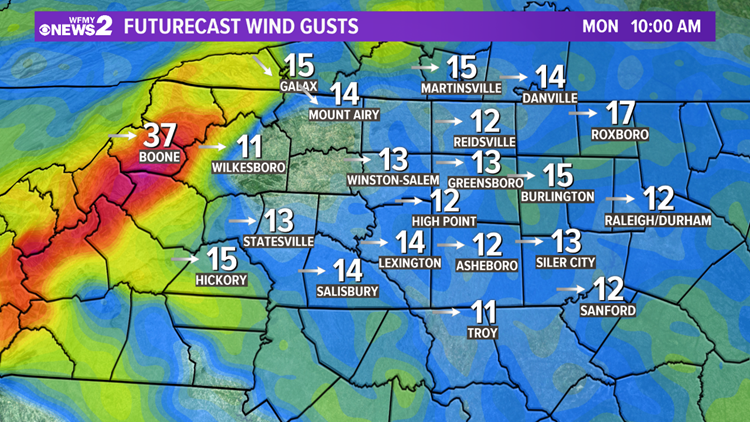 Forecast Wind Gusts Monday