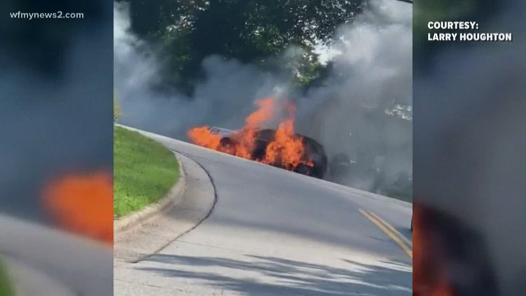 Car on Fire Stops Traffic in Greensboro