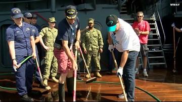 Panthers' Owner Scrubs Battleship North Carolina To Kick-Off 'Keep Pounding Day'