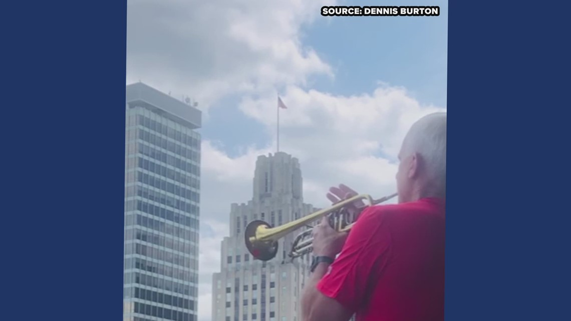 RAW: Man plays taps in downtown Winston-Salem to honor fallen heroes