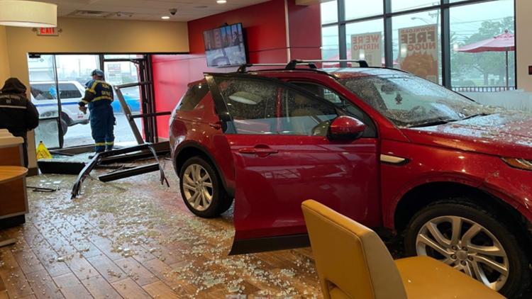 SUV crashes into Wendy's restaurant in Graham