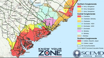 Hurricane Florence Zone Evacuation Zones in South Carolina: Maps