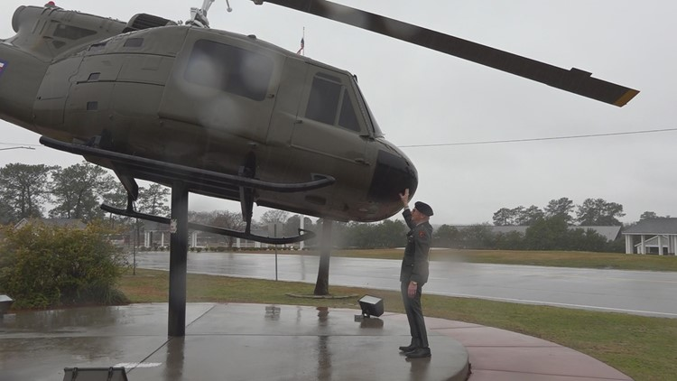 Veteran and Helicopter at Fort Jackson