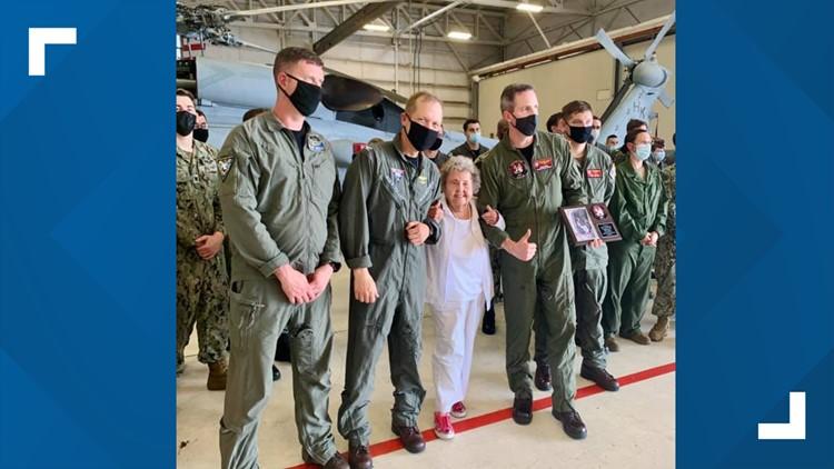 Navy widow flies in helicopter around Mayport to celebrate 100th birthday