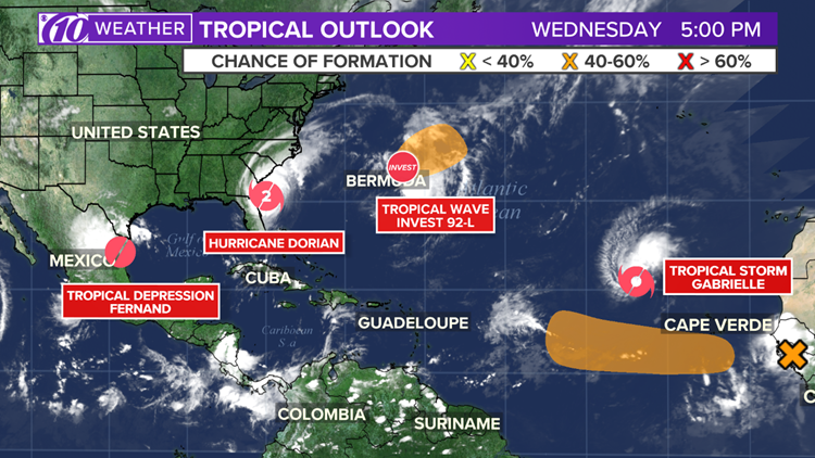 5 tropical systems 9-4-19 5 pm