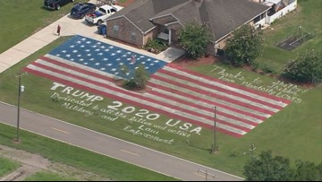 Giant American Flag, 'Trump  2020' Painted On Lawn In Florida