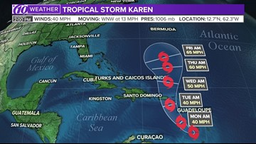 Tropical Storm Karen could bring strong winds, heavy rain to Puerto Rico