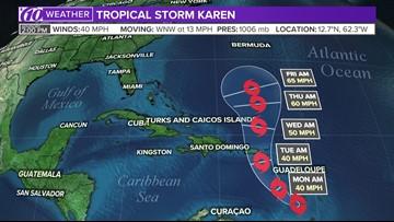 Karen weakens into a low atmospheric pressure